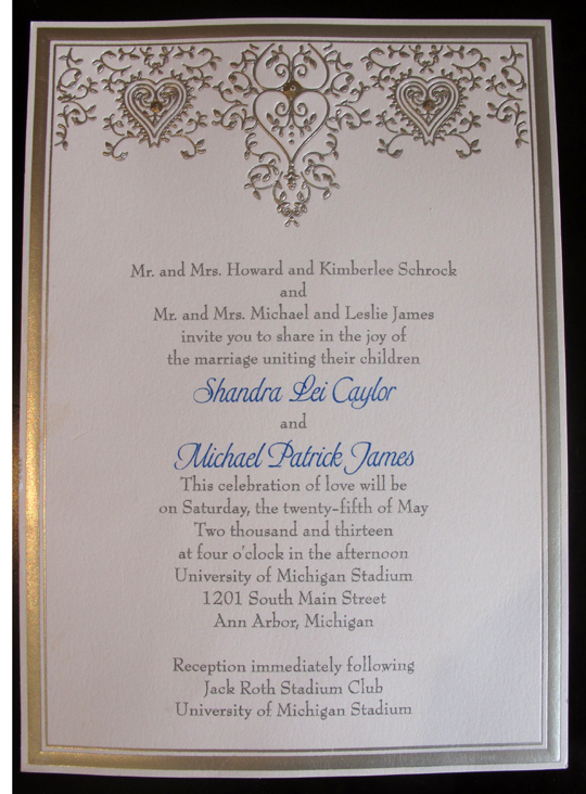 We took a photo of the invitation so you could see the scrollwork inspiration.