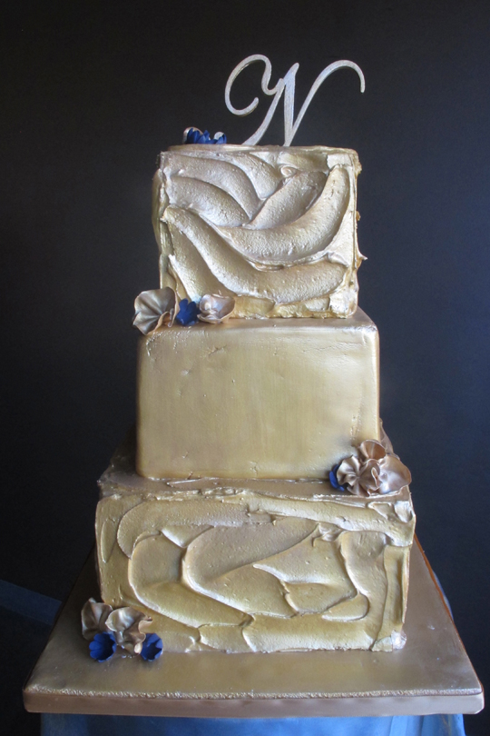 gold and white square wedding cakes get your shine on zingerman s bakehouse 14742
