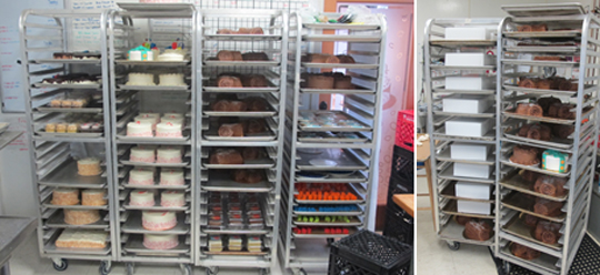 These are our cake racks from the 22nd.  The two on the right hold all buche de noel cakes, boxed and unboxed.