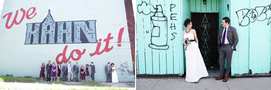 Emilie and Peter's spunk and sass fit right in to these colorful and unique, graffiti-laden backdrops highlighting Detroit's worn spots.  Photos by George Street Photo.