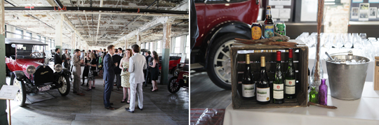 Model-T cars provided the backdrop for mingling, dancing, and dining.  Photos by George Street Photo.
