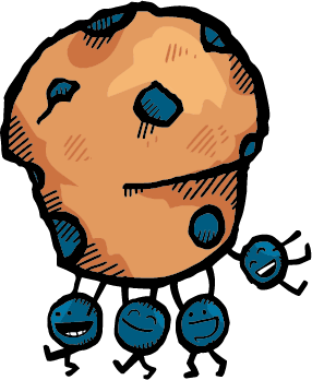 An illustration of smiling anthropomorphic blueberries carrying a blueberry muffin