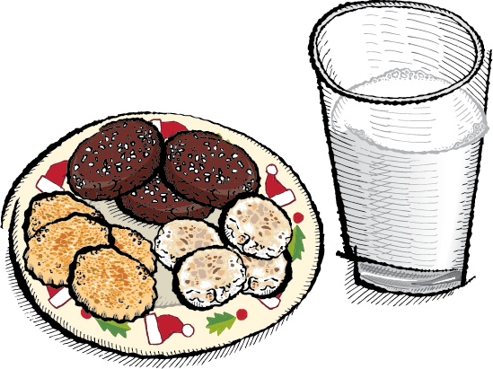 An illustration of a plate of cookies next to a glass of milk