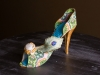 Peacock high-heeled shoe