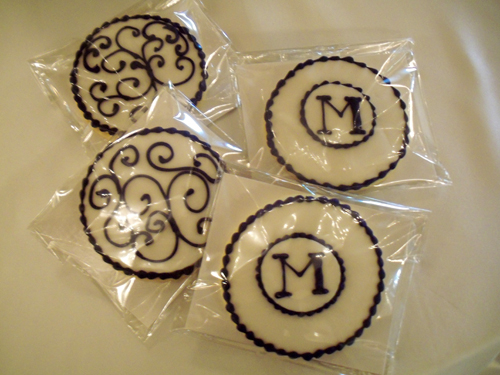 Purple monogram and scrollwork